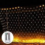 Shinoske LED Lichternetz Netz Lichterkette 3 x 2 m mit Fernbedienung 8 Modis Warmweiß für Weihnachten, Hochzeit, Party, Innen und Außen Warme Farbe-Verkauft von HEOMU