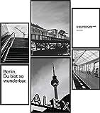 Papierschmiede® Mood-Poster Set Berlin Schwarz-Weiß | Bilder als Wanddeko | Wohnzimmer & Schlafzimmer | 2X DIN A4 und 4X DIN A5 | U-Bahn BVG Fernsehturm - ohne Rahmen