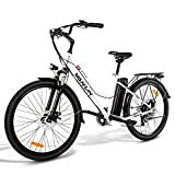 VARUN Damen Herren E-Bike 26 Zoll Elektrofahrrad Shimano 7 Gänge Pedelec Citybike mit 250W Motor 36V 10.4AH Lithium-Ionen-Akku E-Fahrrad für Erwachsene (Weiß)