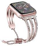 Metallbänder kompatibel mit Apple Watch 38 mm 40 mm 42 mm 44 mm Edelstahlarmband Ersatzarmband Armband Sport weich atmungsaktiv für iWatch Serie 6/SE/5/4/3/2/1 für Damen Herren Mädchen Junge, Pink Wat