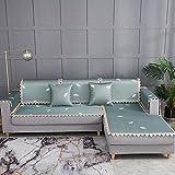 Armlehne Sofa Überwürfe Cover, Ecksofabezug Bank/Stuhlbezug, Armlehnenbezug, Sommer EIS Rattan Sofa Kissen Handtuchabdeckung-80 * 180 cm_Blau-Verkauft in stück