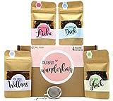 Du bist wunderbar Tee Geschenk-Box mit 4 verschiedene Sorten Tee und Tee-Ei Geschenk Geschenkidee zum Valentinstag Mann Frau