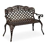 Relaxdays Gartenbank, 2 Sitzer, Rosen, Terrasse, Balkon, Aluminium Guss, antike Sitzbank, 84x111,5x56 cm, schwarz/bronze