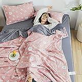 Bocotous Hochwertige Sommerdaunendecke,Sommer Quilt Decken Cartoon, Bettdecke Bettdecke Heimtextilien Geeignet für Erwachsene Kinder Pink 200 * 230cm (4 Stück)