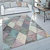 Paco Home Teppich Wohnzimmer Bunt Pastellfarben Rauten Muster 3-D Design Kurzflor Robust, Grösse:120x170