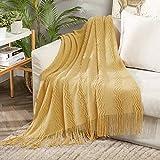 MIULEE Kuscheldecke Welle Fleecedecke Decke Weich Flauschig Einfarbig Wohndecken Couchdecke Sofadecke Blanket für Bett Sofa Schlafzimmer Büro, 127x153 cm Gelb