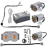CADA Technik Netzteil-Funktionskit für technische Fahrzeuge, einschließlich 3 Motoren, LEDs, Batteriekasten und 2,4-GHz-Fernbedienung (kompatibel mit vielen Modellen und Lego Funktionen) S054-001