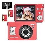 LongOu Digitalkamera 2,7 Zoll 1080P 30 Megapixel HD Fotoapparat Digitalkamera Wiederaufladbare Fotokamera mit 8-Fach Zoom-Kompaktkamera Mit 32 GB SD-Karte und 2 Batterien (Rot)