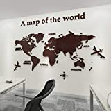 Ningc Version Weltkarte Acryl 3D Wandaufkleber für Wohnzimmer Büro Home Decor Weltkarte Wandtattoos Wandbild für Kinderzimmer, Kaffee, L ca. 1,8x1