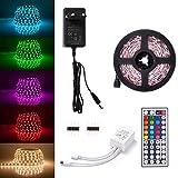 Sunix LED Streifen Set, 2M Strip lights mit 60 RGB LEDs (SMD 5050), DIY-Beleuchtung, Nicht Wasserdicht, Inklusive Netzteil 12V 2A und 44 Tasten IR-Fernbedienung, LED Lichtband
