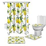 YCDtop Lemon Leaf Fruit Geometric Art Duschvorhang-Sets rutschfeste Teppiche Toilettendeckelabdeckung und Badematte wasserdichte Badezimmervorhänge 180x180cm (71x71in)