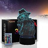 Anime One Piece Portgas D Ace Nachtlicht für Kinder Tischlampe Weihnachtsgeschenk, 3D LED Illusion Lampe für Jungen Schlafzimmer Dekoration Fernbedienung Nachtlicht