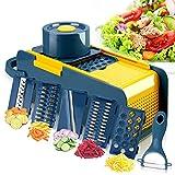 Akatsuki Gemüseschneider, Mandoline, Gemüsehobel Zwiebel Zerkleiner multifunktional, Gemüsehobel, Gemüseschneider, Schneiden und Reiben, mit Schäler, leicht zu reinigen