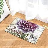 OPLJ Blumendruck Dekorative Eingang Boden Fußmatte rutschfeste Blumen Badezimmer Teppich Wohnkultur Küche Teppich Flur Matte A4 50x80cm