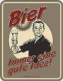 RAHMENLOS Original Blechschild: Bier, Immer eine Gute Idee!