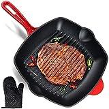 Satalvo Gusseisen Grillpfanne mit Ofenhandschuh - extrem langlebig & 100% flexibel - beschichtete Gusseisen Pfanne für perfekte Ergebnisse - ideal als Grill-,Steak- und Schmorpfanne