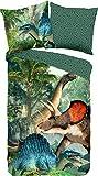 Good Morning! Wendebettwäsche Jurassic Renforcé grün Größe 135x200 cm (80x80 cm)