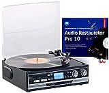 Q-Sonic USB Plattenspieler: 4in1-Plattenspieler mit Bluetooth, Digitalisier-Funktion und Software (Schallplatten Digitalisierer)