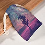 RNGIAN Romantische Galaxie-Baum-Beutel, Bedruckt, Aktivitäten für Wandern, 6 Stück, weiß, 12 * 18