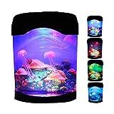 Quallen Lavalampe, LED Quallen Stimmungslampe mit 5 Farbwechsel Aquarium Lampe groß Quallenlicht USB/batteriebetriebenes Quallentank Nachtlicht für Kinder Schlafzimmer Büro Zuhause