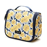 Jadyn B Toiletry Bag - Hanging Toiletry Bag and Travel Cosmetic Organizer for Women (Yellow Flowers)