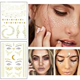 Xinlie 2 Stück Tätowierungsaufkleber Metallic Flash Tattoos Face Tattoo Face Sticker Gesicht Aufkleber for Holiday Girls and Young Women für Augen Gesicht Party Festival Shows Gold (2 Stück)