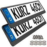 2 Kennzeichenhalter kurz 46 x 11cm Auto Nummernschildhalter Kurze Kennzeichenhalterung 460mm x 110mm Kurzer kennzeichenhalter (Black Edition)