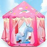 Fivejoy Unicorn Kinderspielzelt Mädchen Kinder Zelt, Princess Castle Spielzelt Für Kinder Mit 2 Modes Sternenlicht, Prinzessin Zelt Innen & Draussen - Weihnachten, Geschenk Für Kinder (Rosa)