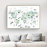 HUANGXLL Bildungs-Poster mit Tier-Weltkarte für Kinder, Kinderzimmer, Wandkunst, Leinwanddruck, Gemälde, Kinderzimmer, Spielzimmer, Heimdekoration, 50 x 70 cm, ohne Rahmen