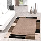 Teppich Günstig Bordüre Design Modern Wohnzimmerteppich Beige Schwarz Top Preis, Größe:160x220