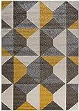 Carpetforyou Designer Moderner Kurzflor Teppich Desert Stones bunt grau gelb dreieck in 4 Größen für Wohnzimmer Schlafzimmer Jugendzimmer Kinderzimmer (80 x 150 cm)