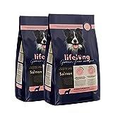 Amazon-Marke: Lifelong Alleinfuttermittel für ausgewachsene Hunde, Frischer Lachs - 5 kg * 2