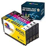 Clorisun Compatible Ink Cartridges Replacement for Epson 405XL Epson WF-3820DWF WF-3825DWF WF-4820DWF WF-4825DWF WF-4830DTWF WF-7830DTWF WF-7835DTWF WF-7840DTWF Printer