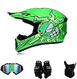 Amacigana® Motocross-Helm | ABS-Schale, Lüftungsöffnungen für optimale Belüftung und Kühlung | Kinder Cross Helme Sturzhelm Schutzhelm Helm für Motorrad Kinderquad und Crossbike (Grün,M)