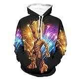 Groot Wood Hoodies Atmungsaktive Komfort Hoodies mit Gabelung Kängurutasche für Männer Frauen für Gym Sport Schwarz 3XL