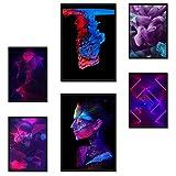 Poster24 Premium Poster Set Abstrakt | 2X DIN A3 und 4X DIN A4 | Bilder Set mit 6 Deko Motiven | moderne Wanddeko Motive für das Wohnzimmer und Schlafzimmer | ohne R