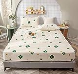 XLMHZP Hochwertiges Spannbettlaken,100% Baumwolle Spannbetttuch, Bettlaken aus massiver Baumwolle Bettbezug Vier Ecken mit Gummiband, Rutschfester Matratzenbezug-A_150x200cm + 30cm