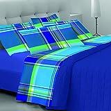 CosìCasa Bettwäsche-Set für französisches Bett, 100 % Baumwolle, Blau, Bettwäsche-Set mit Kissenbezügen, Bettlaken 180 x 290 cm, Spannbettlaken 130 x 200 cm + 1 Kissenbezug 50 x 80 cm. | 1,5P