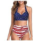 KIMODO Damen Bikini Set Triangel BH Bikini Rückenfrei Bademode Push Up High Cut Geteilter Einlagen Oberteil Badeanzug mit Bikinihosen Brazilian Style (E-Rot, XL)