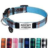 TagME Hundehalsband für Welpen Hunde, Nylon Hundehalsband mit Name und Telefonnummer, Dunstblau XS