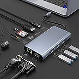 10 in 1 USB Typ C Hub Adapter mit 4K HDMI, 1080P VGA, 3 USB 3.0 Anschlüsse, USB C, RJ45 Gigabit Ethernet, SD/TF-Kartenleser, 3,5 mm Audio Hülle,USB C Dock für Mac Book und andere Typ-C-Geräte