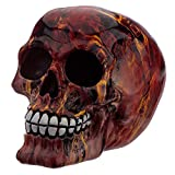 NAMENLOS Gothic-Totenkopf in Flammen | Fantasy Skull, Totenschädel, Kopf-Skulptur, Statue, Figur, H 12
