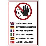 Schild Betreten verboten in Mehreren Sprachen aus Alu/Dibond 200x300 mm - 3 mm stark