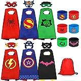 Jojoin Superhelden Kinderkostüm Kinder, 6 Stücke Superhelden Kostüm Kinder mit 6 Superhelden Masken, 6 Schnapparmband, 1 Tasche, Spielzeug & Geschenke für Kindergeburtstag, Hallow