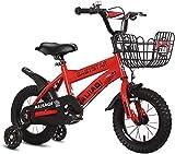 Kinderfahrrad für Mädchen und Jungen ab 2-5 Jahre Fahrrad 12 14 Zoll Stützräder Kinderfahrrad Laufrad Kinder Fahrrad,Red_12'