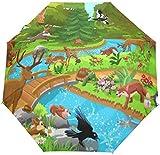 DXZ-Design Nette Kinder tropischen Tierwald Dschungel Weltkarte Auto Open Schließen Sonne Regen Regenschirm