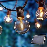 Solar Lichterkette Außen,Lichterkette Gluehbirne Aussen,OxyLED G40 10.35m Lichterkette Garten, Wasserdicht 30+2 LED Birnen E12 Warmweiß 2500K Beleuchtung für Innen und Außen Deko Garten H