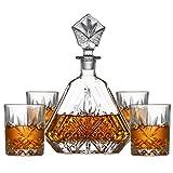 LITINGT Aristokratisches Whisky-Dekanter-Set mit Barzubehör - Kristallstopfen, Whiskygläser(4) Geschenk für Männer oder Frauen, für Bar, Familie, Party, für Scotch, Bourbon, Brandy, Wodka