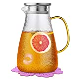 Boqo Wasserkrug mit Deckel, Wasserglas und Edelstahldeckel und Untersetzer, Saftkrug (1,5 Liter)…