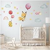 yabaduu Wandsticker Sticker Aquarell Tiere Selbstklebend für Kinderzimmer Babyzimmer Spielzimmer Mädchen Junge (Y037-11 Fuchs Küken Regenbogen)